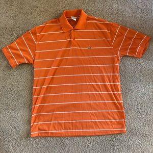 Lacoste Men's Orange and White Polo